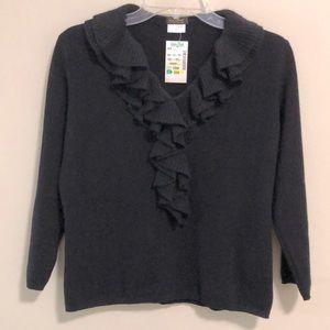 Elizabeth New York Cashmere Sweater Black SZ M New